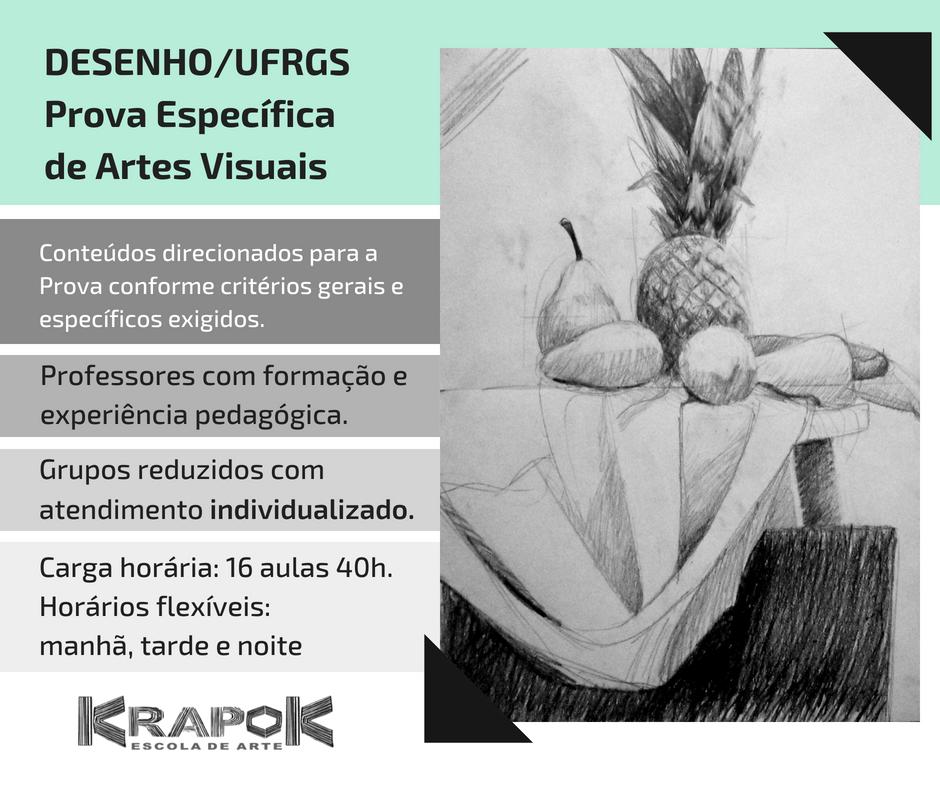 Curso de desenho para prova da UFRGS na KRAPOK Escola de Arte em POA